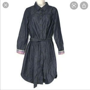 Boden Belted Denim Shirt Dress Plaid  Flip Cuff